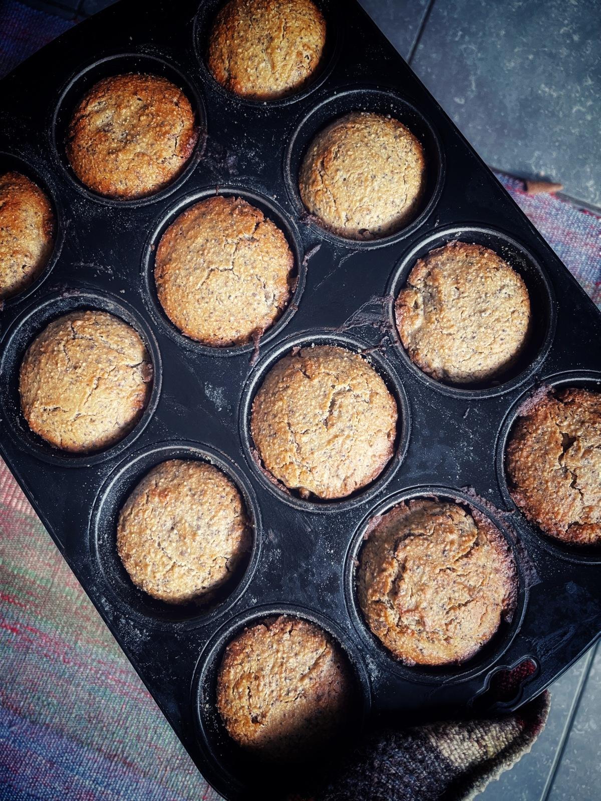 sunday muffins…. gluten free and vegan lemonpoppyseed…