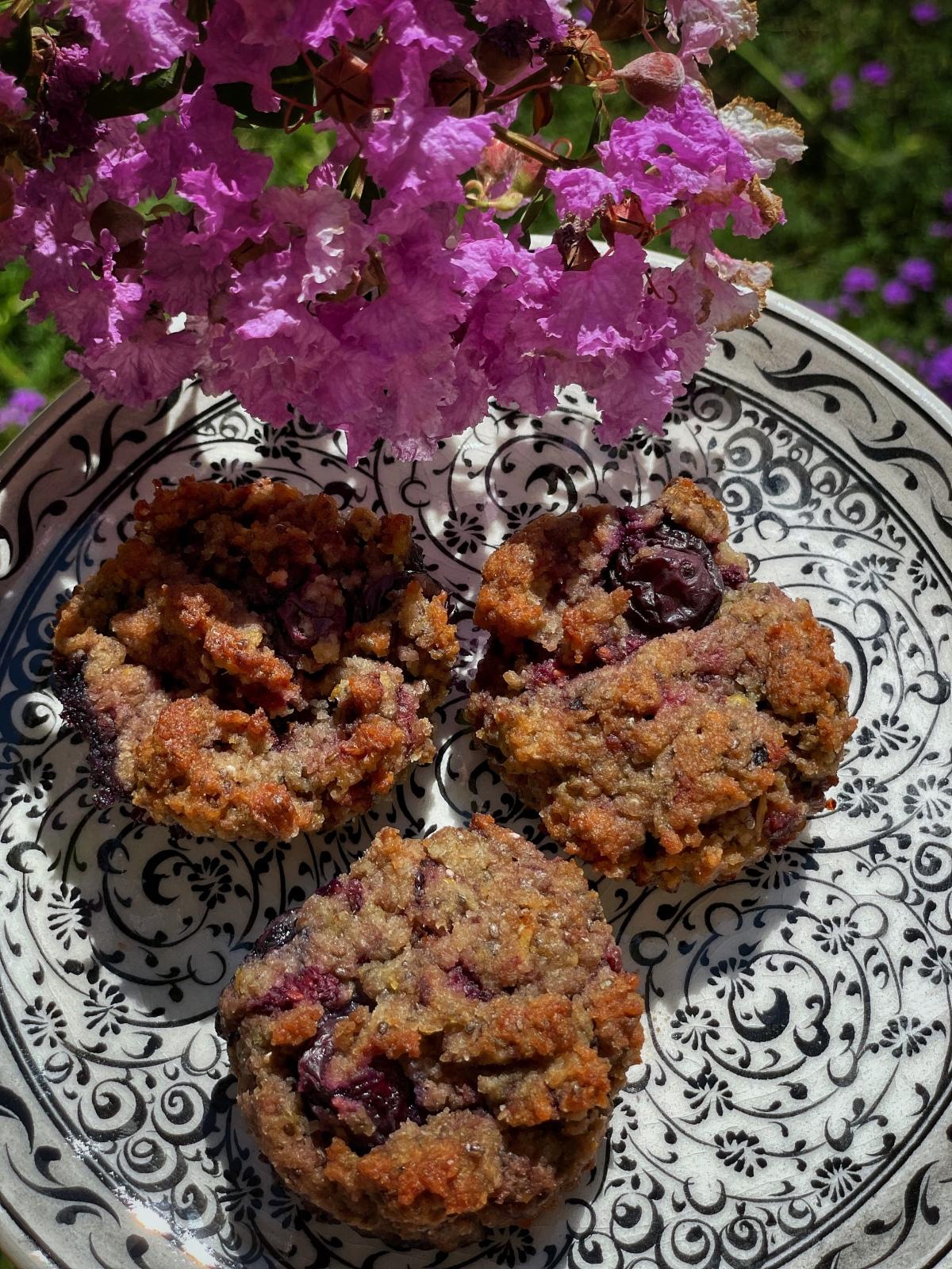 sunday muffins…gluten free and vegan lemonberry….